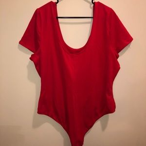 Bright red bodysuit